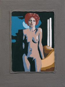 4-Naked posing woman-Acryl on canvas on MDF-30x40cm