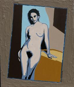 2-Naked posing woman-acryl on MDF-30x35cm