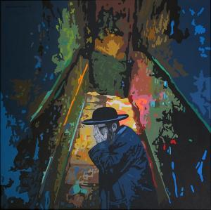 75 jaar na Auschwitz acryl canvas 80x80cm