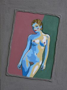 3-Naked woman posing-30x40cm- aryl/sand-canvas on board
