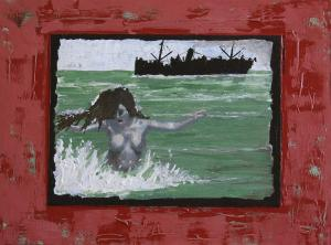 Woman in the sea-Canvas on MDF-30x40cm