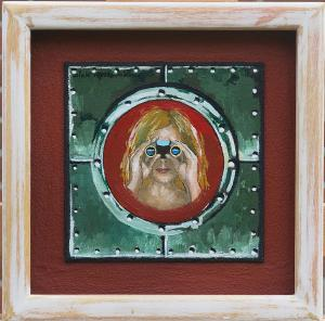 Girl in porthole-canvas on MDF- 30x30cm
